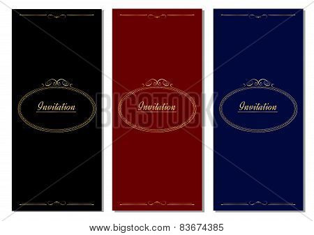 Set of template antique greeting card, invitation, wedding card