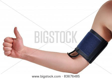 Measurement of blood pressure on a man's hand