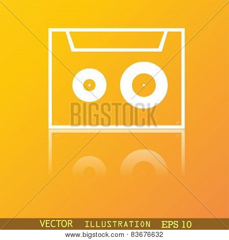 Cassette Icon Symbol Flat Modern Web Design With Reflection And Space For Your Text. Vector
