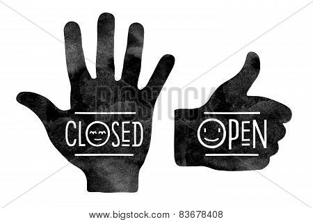 Stop hand Closed and thumb up Open