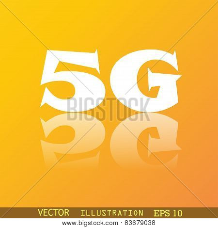 5G Icon Symbol Flat Modern Web Design With Reflection And Space For Your Text. Vector