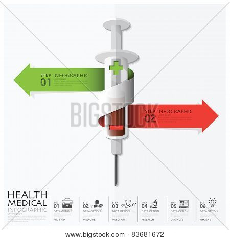 Health And Medical With Bind Spiral Arrow Syringe Diagram Infographic