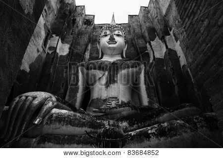 The Main Buddha Statue In Sukhothai, Thailand, Black And White