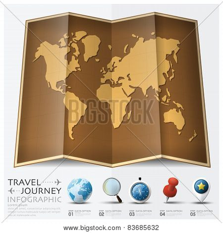 Travel And Journey World Map With Point Mark Infographic
