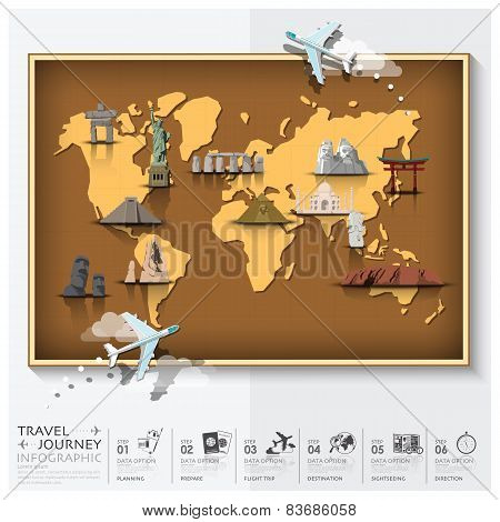 Travel And Journey World Map With Famous Landmark Infographic