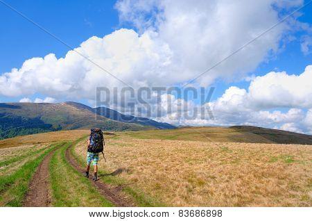 Trekker walking on mountain