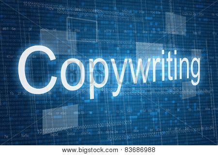 Copywriting word on digital background