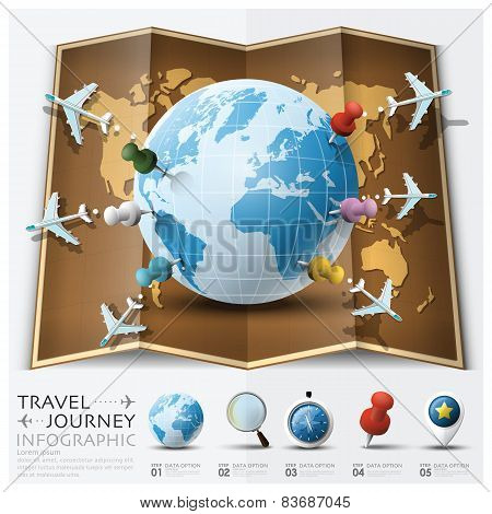 Travel And Journey World Map With Point Mark Airplane Route Diagram Infographic