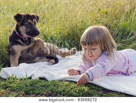 Child With Dog In Nature