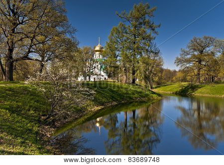 Church And Pond In Spring