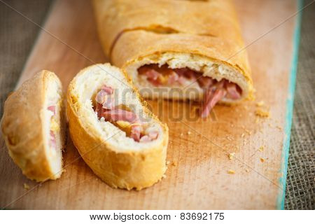 Bread Stuffed With Cheese And Bacon