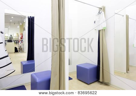 Interior Of Dressing Room At Clothing Store