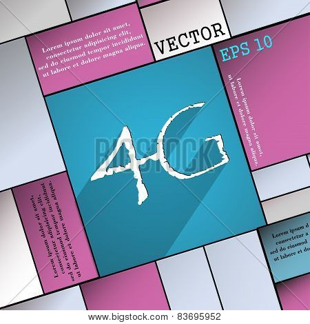 4G Icon Symbol Flat Modern Web Design With Long Shadow And Space For Your Text. Vector