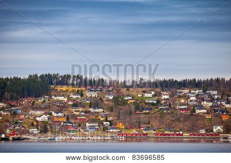 Small Norwegian Coastal Town Landscape Photo