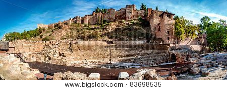 Panoramic View Of Roman Theatre In Malaga. Andalusia, Spain