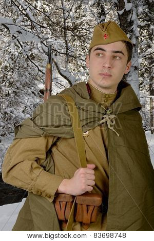 Soviet Sniper With His Rifle
