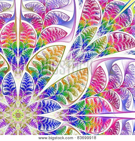 Diagonal Symmetrical Multicolored Pattern Of The Leaves