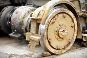 picture of tram  - Industrial shot with out of use rusty tram wheels - JPG