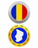 picture of chad  - button as a symbol CHAD flag and map on a white background - JPG