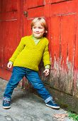 stock photo of pullovers  - Outdoor portrait of adorable toddler boy - JPG