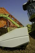 pic of threshing  - The big harvesting machine harvest the crop - JPG