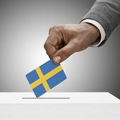 stock photo of sweden flag  - Black male holding flag - JPG