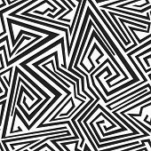 stock photo of swastika  - monochrome spiral lines seamless pattern  - JPG