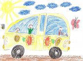 image of car ride  - Happy kids ride on car and smiling - JPG