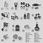 image of mollusca  - set of typical food allergens for restaurants stickers eps10 - JPG