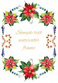 stock photo of poinsettia  - Christmas background with red poinsettia - JPG
