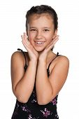 picture of preteen  - A portrait of a happy preteen girl against the white background - JPG