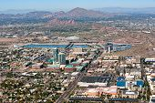 stock photo of piestewa  - Downtown Tempe Arizona from above including Papago Buttes and Camelback Mountain in the distance - JPG
