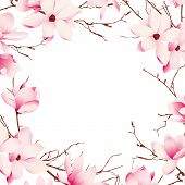 picture of japanese magnolia  - Delicate magnolia flowers vector card - JPG
