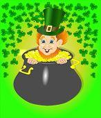picture of leprechaun  - Leprechaun in a festive ribbon St - JPG