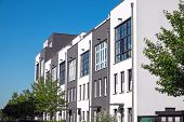 picture of row houses  - A row of modern serial houses seen in Berlin - JPG