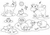 picture of donkey  - Set of cartoon farm animals for children - JPG