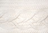 picture of braids  - White wool luxurious braided handmade knitwork pattern closeup texture - JPG