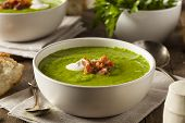 stock photo of green pea  - Homemade Green Spring Pea Soup with Cream and Bacon - JPG