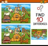 image of preschool  - Cartoon Illustration of Finding Differences Educational Game for Preschool Children - JPG