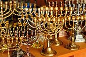 image of hanukkah  - Menorah for sale in shop in the Jerusalem old city market - JPG