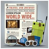 pic of passport template  - Travel And Journey Newspaper Lay Out With Magnifying Glass Binocular Compass Passport Baggage Design Template - JPG
