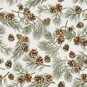 stock photo of cone  - Pattern of pine cones and branches on beige background - JPG