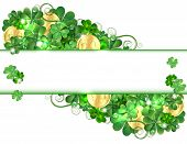 foto of clover  - Patricks Day card with clovers and golden coins - JPG