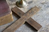 picture of chalice  - Cross and bible with chalice on vintage boards - JPG