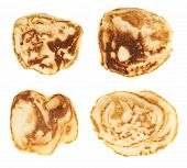 stock photo of foreshortening  - Small pancakes isolated over the white background - JPG