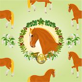 foto of sorrel  - Sorrel horse  head of stallion leaves and french horn hunting theme vector illustration - JPG