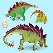 picture of dinosaur  - Illustration of Herbivorous Stegosaurus Dinosaurs Sticker collection set contains male - JPG
