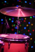 stock photo of drum-kit  - Drum Kit on the stage shallow depth of field - JPG