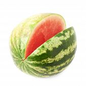 image of watermelon slices  - Watermelon fruit with the single slice piece cut off - JPG