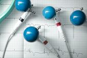 stock photo of ecg chart  - ECG electrodes for measurement concept of healthcare - JPG